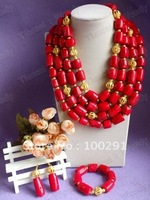 Coral Jewelry Set Coral Necklace Bracelet Earring Set for African Wedding Bridal