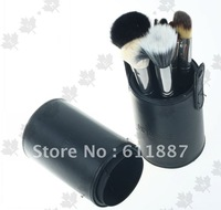Free shipping goat hair black  color  13pcs makeup brush set  with holder