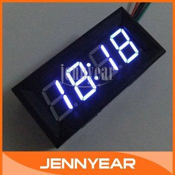 """Mini Blue LED Time Gauges Car Motorcycle LED Clock Panel Meter DC 7-30V Blue Digital Clocks 0.56"""" LED Clocks #090816"""