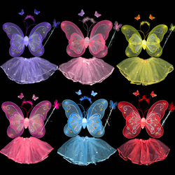 Child costume performance props princess dance skirt double layer butterfly wings piece set female(China (Mainland))