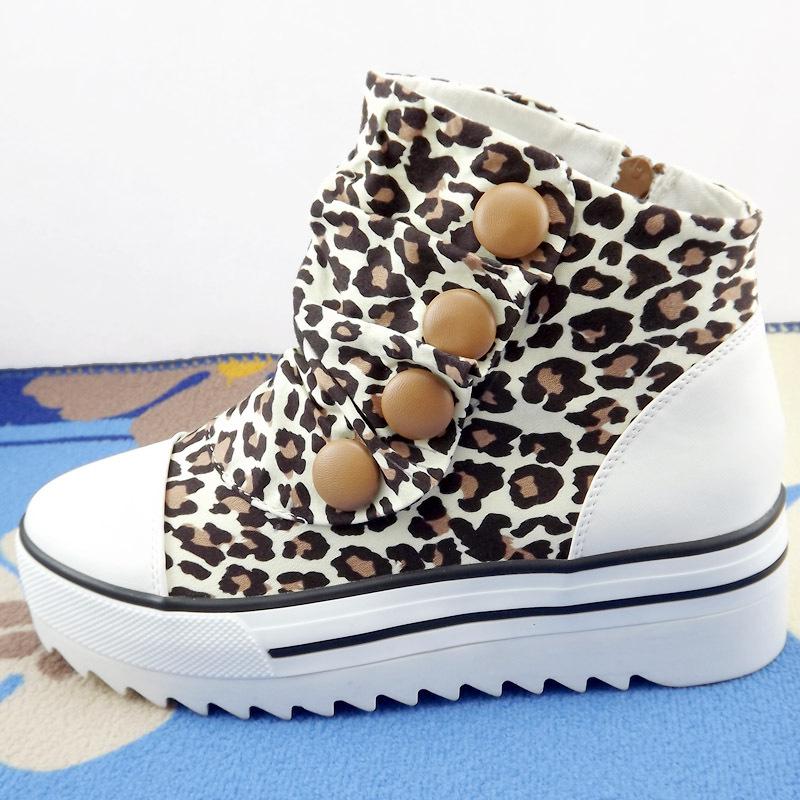 2012 leopard print canvas shoes elevator platform