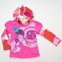 6 pcs/lot Top quality baby girls cartoon flower hoodies 2 colors kids autumn sweatshirts infant cotton clothes wholesale