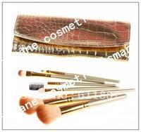 2012 New 7 pcs Brand Hello Kitty Makeup Brush Set kit & Black Faux Leather Case Free shipping!