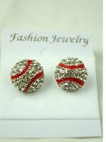 cheap discount  Bling Baseball/Softball Stud Earrings (Clear/Red)  freeing shipping fee by fedex to usa