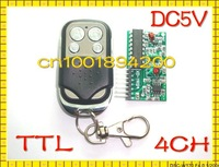 Free Shipping DC5V RF Wireless Receiver Module Remote Control Receiver Module 4CH TTL  Signal Output Latched Momentary