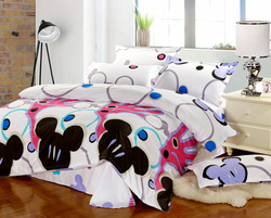 MICKEY MOUSE pattern kid bedding sheet, 4pc bedding sets with size Queen/ Full, EMS Free Shipping(China (Mainland))