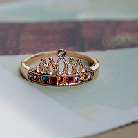 Sunshine jewelry store elegant multicolour crystal crown finger ring J005 ( $10 free shipping )