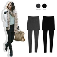 Free shipping Autumn and winter slim thickening wool goatswool faux two piece legging skirt