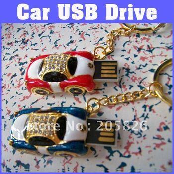 Free Shipping! 100% Full Capacity Fashion Car USB Flash Drive 2GB/4GB/8GB/16GB/32GB USB Drive USB Stick Car Shape Flash Drive