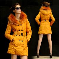 2014 Winter Jacket Women White Duck Down Coat With Detachable Luxurious Raccoon Fur Collar Down Jacket Women Parka Outwear W018