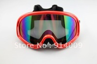 Wholesale Ski Snowmobile Motorcycle Off-Road Goggle Eyewear Red Frame Color Lens T815-3 free shipping