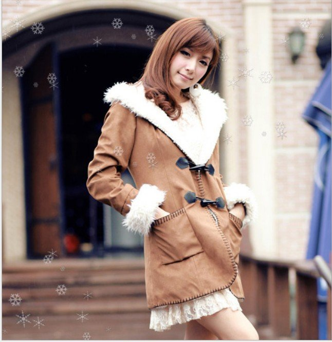 women clothing 2012 Urban fashion collars cloth coat upset female fur winter coat women,Flannel warm women jacket(China (Mainland))