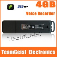 30pcs/lot Wholesale 4GB USB Flash Drive Audio Mini Hidden Digital Voice Recorder 240 Hours (Black) & Free Shipping