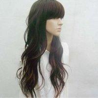 New Fashion women beautiful long brown curly hair wig88