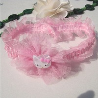 Free Shipping Cute pink Hello Kitty Baby Headbands, Girl's Lace Hair Band,Baby Girls Hair Bows,Baby Hair Accessories