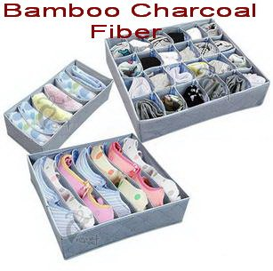 Open 3pcs/Set Bamboo Charcoal Fiber Non-Woven Storage Boxes for Bra,Socks,Briefs,Scarf(China (Mainland))