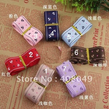 Free shipping, very popular 2.5cm Korean printing Pentagram anchor anchor grosgrain ribbon, bow DIY materials, DIY decoration