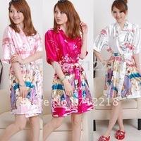 Free shiping silk sleepwear sexy short-sleeve robe Women's Casual Two-piece  Dress Silk Bathrobe