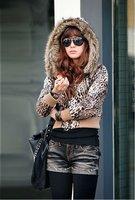 Ladies long sleeve fur hooded with full Zipper