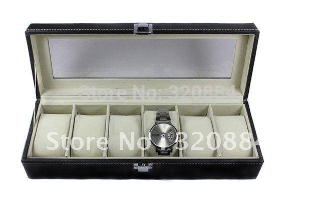 Упаковка для ювелирных изделий In Stock 6 Cell Display Storage Leather Windowed Case Organizer Box Wrist Watch Container