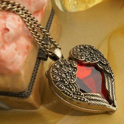 sunshine jewelry store vintage royal red rhinstone heart wings long design necklace 27g(min order $10 mixed ordere)X124(China (Mainland))