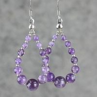 Natural amethyst earrings European style tassel water droplets crystal ear jewelry
