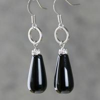Drop earrings natural Black agate for women long design crystal vintage earrings new year gift