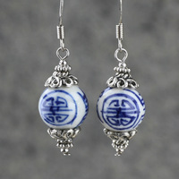 New arrival blue and white porcelain earrings original design jewelry vintage national trend women silver earrings