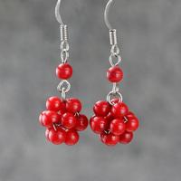 Red coral earrings ball round earrings drop earrings fashion vintage jewelry