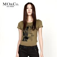 Free shipping Mo & co . mormons women's m113tst26 print paillette rhinestones o-neck short-sleeve T-shirt moco