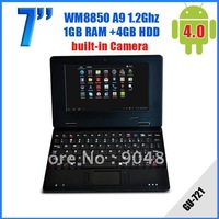 Freeshipping 7inchUMPC VIA8850 512MB+4GB Android 4.0 Support Wifi  Mini Laptop with web Camera Computer GU-721