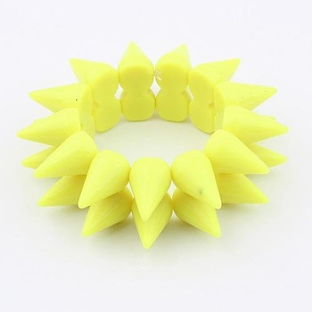 Wholesale Europe & America Fashionable& Shiny Yellow Rivet Spike Stretch Bracelet Min.order is $10 (mix order) Free Shipping B85