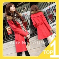 2012 Hot selling medium-long trench woolen outerwear double breasted casual overcoat fur collar free shipping