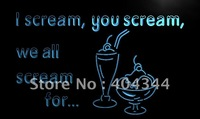 LM204- Ice Cream You I All Scream For Neon Light Sign   hang sign home decor shop crafts led sign