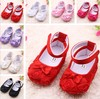 Free shipping 3 prs/lot Hot Pink Mary Jane Baby Shoes,Girls Toddler Soft Sole with Rose Flowers  5 colors