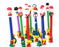 Free shipping 48 pcs/lot wholesale hot selling mix design christmas decoration santa claus pen(China (Mainland))