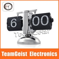 2012 NEW Retro Modern Metal Scale Digital Auto Flip Single Stand Metal Desk Table Clock Free Shipping