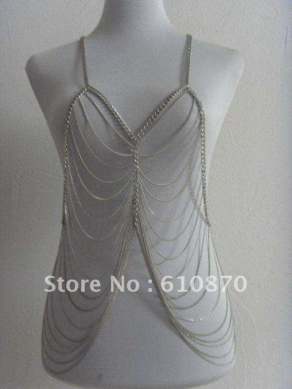 bb0f6432632 2015Newest western style silver chain Tassel choker bib necklace fashion body  chain jewelry for women/lady\'s