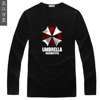 The resident evil 4 biohazard umbrella  t-shirt the mark 100% cotton long-sleeve male