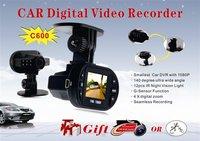 "Super-mini Full HD c600 car DVR 1920*1080P 12PCS IR LED lights1.5"" TFT LCD 4X Digital zoom G-sensor Digital Video Recorder"