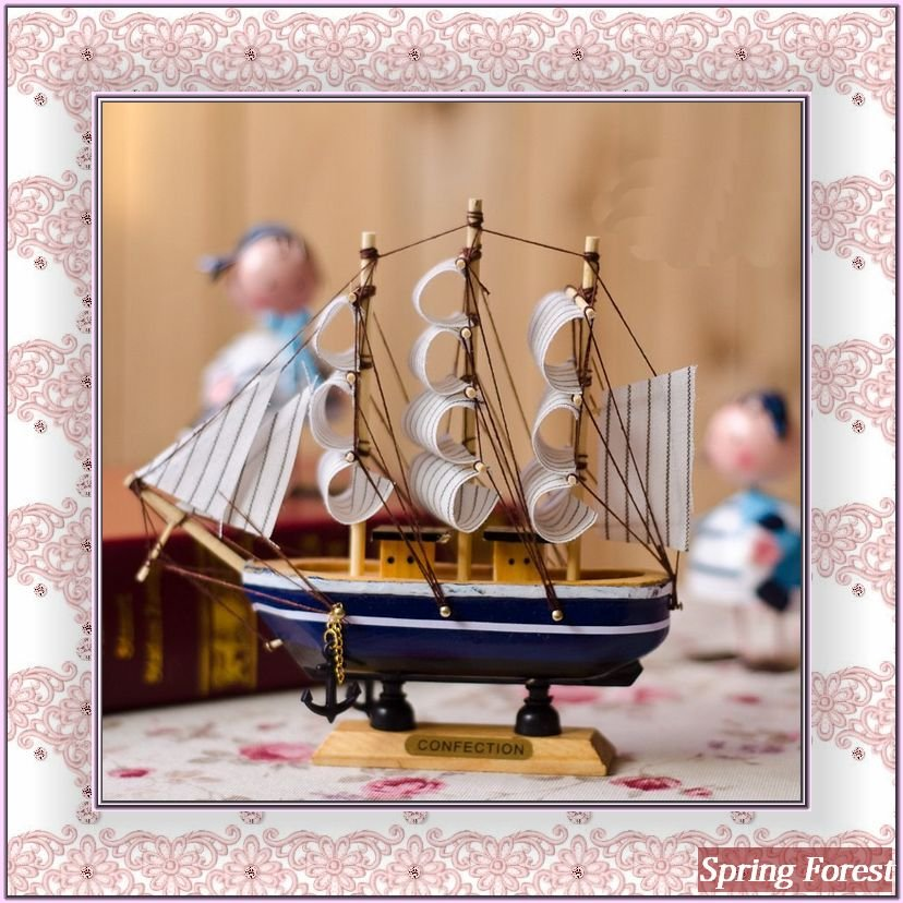 Free Shipping Wooden Sail Boat For Home Decoration, Holiday Favors,handcrafts -Mediterranean Style(China (Mainland))