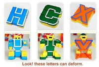 Letters learning + robot deformation 26 letters robot deformation set children educational toys kids puzzle + free shipping