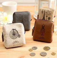note!(mixed order more than $10) Fashion nostalgic vintage memory canvas square coin purse key wallet storage bag