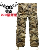 Free shippingAutumn male overalls bags casual pants loose water wash men's clothing trousers