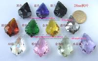 Diy beads 28mm crystal maple leaf pendant baroque leaves crystal loose beads bead curtain crystal pendant