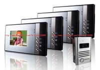 Free shipping 5.6'' color wired video door phone 1 to 4 / door intercom with aluminum alloy camera