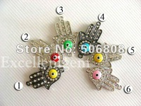Wholesale High Quality Brass Hands Of Fatima Hamsa Bracelet Connector Bead/ Charms/ Pendants In Mixed Color 50PCS Free Shipping