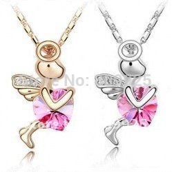 God of Love Cupid Pink Crystal 18K Gold Plated Necklace