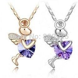 Saint Valentine s Day God of Love Saint Purple Crystal Cupid Necklace