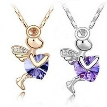 God of Love Cupid Purple Crystal 18K Gold Plated Necklace
